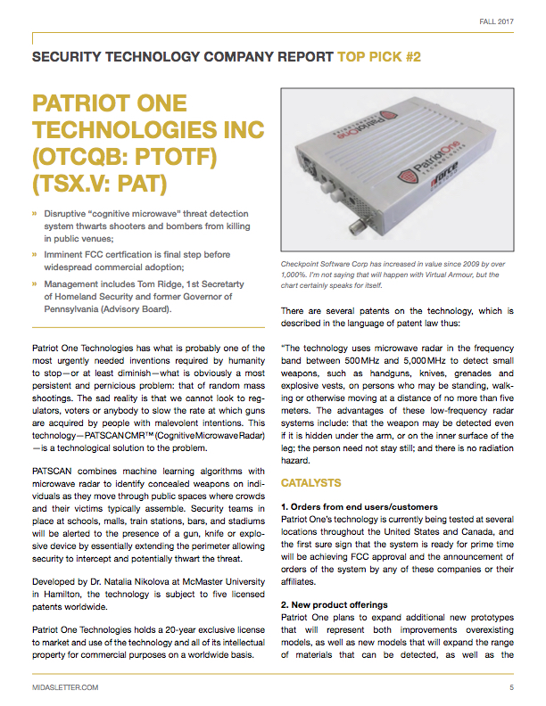 CEO CA #pat PATRIOT ONE TECHNOLOGIES INC (PAT TO)